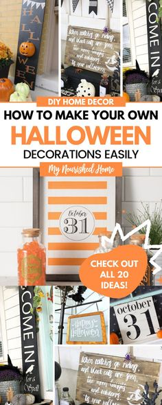 These DIY Halloween Signs are ADORABLE! I have been seriously behind in my Halloween decorating game until this year. Most of our indoor Halloween decor consists of wood signs and I'm not mad about it. They are so easy to make and they don't take up lots of space to store between seasons.
