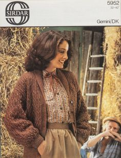 e765e6ea7 Details about Sirdar Knitting Pattern 5952 Ladies Textured Shawl Collar  Jacket 32-42