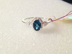 London Blue Topaz, Diamond Ring in Sterling Silver (Size 8) 1.01 tcw | Blue Gemstone Jewelry LLC only $25!