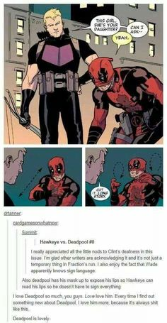 Yet another reason to love deadpool. <<< I was under the impression Deadpool was signing because he couldn't talk due to his lips being sewn shut.<<<I haven't watched Deadpool, but I want to because he's a fourth wall breaker and probably very funny Marvel Dc Comics, Marvel Avengers, Marvel Funny, Marvel Memes, Hawkeye Marvel, Hawkeye Comic, Marvel Facts, Avengers Characters, Book Characters