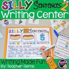 """Give your students a love for writing with this fun writing center! Students decide which card is the """"so silly"""" card and which one is the """"not so silly"""" card. Then they give the picture a silly score (1-5). Lastly they write two-three sentences describing which is so silly about the picture on the wipe off mat. #TeacherGems"""