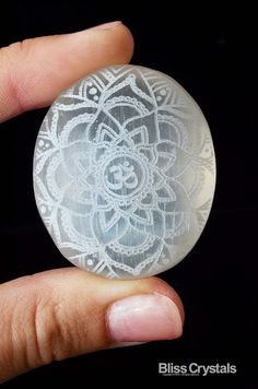 Sacred SELENITE Palm Stone 1.7 w Om Mandala Laser by BlissCrystals