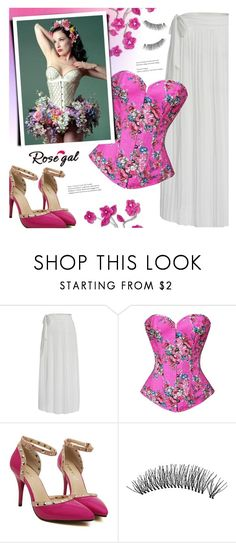 """""""Floral corset(rosegal 25)"""" by meyli-meyli ❤ liked on Polyvore featuring Dita Von Teese, floral, Pink, corset, dita and rosegal"""