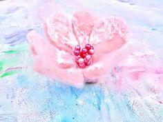Silk and merino. Hand made. Flower Brooch, Cherry Blossom, Hair Clips, Flora, Recycling, Wax, Ribbon, Silk, Handmade