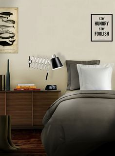 Bedroom ideas decor by Delightfull | A sophisticated and highly functional piece with an extendable arm can be adjusted into different positions. Pure vintage. Its structure is made in brass and the lampshade in aluminum.