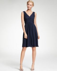 Flattering V-neck Navy Silk Georgette Bridesmaid Dress - $122 and free shipping (add $15 for custom made dress to your dimensions)