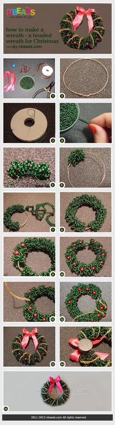 how to make a wreath - a beaded wreath for Christmas