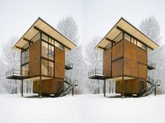 The Delta Shelter from Olson Kundig Architects. 1000 square feet – sits directly on a flood plain close to a river.