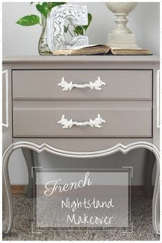 A painted French nightstand makeover from Timeless Creations featured on Thursday Favorite Things link party