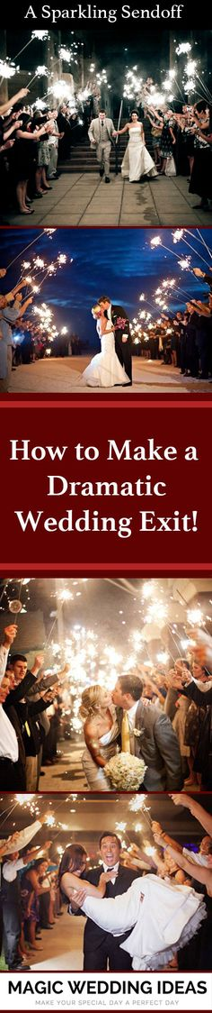 Your sparkling send off should be as incredible and awe-inspiring as the rest of your wedding -- one your family and friends will remember forever! (How To Make Dress Creative) Wedding Exits, Wedding Venues, Fall Wedding, Dream Wedding, 2017 Wedding, Wedding Stuff, April Wedding Colors, Italian Wedding Themes, Wedding Color Pallet