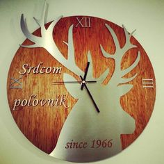 lasercut hunter deer wood and stainless  steel wall clock