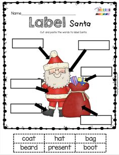KINDERGARTEN READING LABEL SANTA - Christmas activities for kindergarten and first grade - letter sounds matching - literacy center for December - Christmas Reading Stations and Centers - try FREE printables and activities for pre-k and kindergarten Kindergarten Reading, Kindergarten Classroom, Kindergarten Activities, Learning Activities, Activities For Kids, Christmas Worksheets, Christmas Math, Preschool Christmas, Xmas
