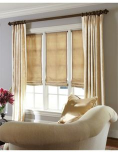 Relaxed Roman Fabric Shades with Parisian Pleat Drapery. Smith and Noble.