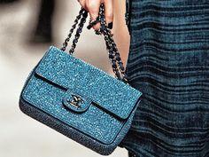 Turquoise Glitter Chanel Flap Bag
