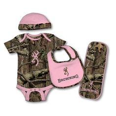 browning baby girl. Bought this today to bring baby Oakley home in. Now need to find her some pink newborn pants. =)