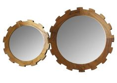 Set of 2 Master's Collection Gear Mirrors in Teak design by Selamat