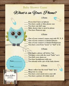 INSTANT UPLOAD Baby Shower Game, Whats in your phone. Cute Baby Owl on branch, blue baby pins. Matching Invitation Print at home or bring to