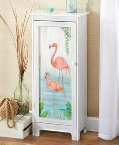 Add concealed storage to your home with this Coastal Artwork Storage Cabinet. It has 3 shelves inside a door with a magnetic closure. It looks like the design h Beach Furniture, Hand Painted Furniture, Funky Furniture, Repurposed Furniture, Home Decor Furniture, Furniture Projects, Diy Home Decor, Room Decor, Painted Dressers