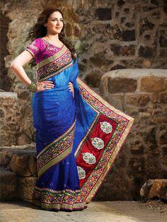Gleaming Deep Blue Embroidered Saree | StylishKart.com
