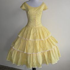 Vintage 50s Yellow Polka Dot Ruffled Full Skirt Dance Party Cocktail Dress by hillbillyfilly, $125.00