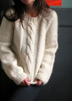 cable knit through the center. Looks so warm and soft
