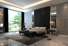 Create Some Art As Wall Feature In Your Bedroom: Luxurious And Grandiose Design Room With Marble Flooring And Cool Backdrop Also Big Windows With Carpet ~ Peerflix