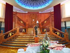 The Grand Staircase and Cutting Cake at the Titanic Museum Belfast - afternoon tea in Belfast Titanic Museum, Grand Staircase, Europe Destinations, The Good Old Days, Belfast, Afternoon Tea, My Room, Pigeon Forge, Cake
