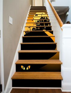 A spooky Halloween House that you'd probably rather not visit. And watch out for the creature at the bottom of the stairs. Order this item by choosing a width that is slightly wider than your stairway