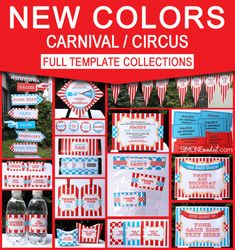 Circus or Carnival Party Theme Printables, Invitations & Decorations - Red & Aqua Fall Carnival, Diy Carnival, Carnival Themed Party, Carnival Birthday Parties, Carnival Themes, Circus Birthday, Party Themes, Circus Theme, Theme Ideas