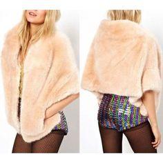 Light Pink Luxury Design Artificial Fur Cape Coat