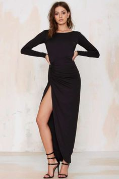 Lioness Found Love Slit Dress - Black - What's New : Back In Stock