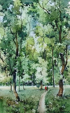 Watercolor Landscape Paintings, Watercolor Trees, Watercolour Tutorials, Watercolor And Ink, Watercolour Painting, Pencil And Paper, Tree Art, Watercolours, Sketchbooks