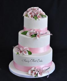 Pink and white calla lilies wedding cake - by www.fancythatcake.ca