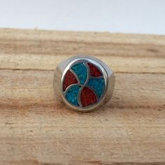 Vintage Turquoise Coral Southwest Style Ring https://www.etsy.com/listing/261431169/vintage-turquoise-coral-southwest-style?utm_source=socialpilotco  #turquoise #jewelry #ring #coral #inlay