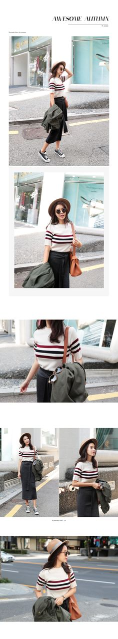 スリーラインニットTシャツ・全3色トップス・カットソーニット・セーター|レディースファッション通販 DHOLICディーホリック [ファストファッション 水着…