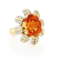 18K Tiffany & Co. Mandarin garnet & diamond ring