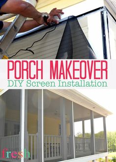 This Screened Porch DIY tutorial will have you enjoying a bug-free dinner by the end of the day! Part two of our Side Porch Makeover series. Screened In Porch Diy, Side Porch, Front Porch, Diy Screen Porch, Building Design Plan, Building A Deck, Cool Deck, Diy Deck, Diy Patio