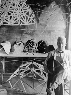 "kvetchlandia: "" Uncredited Photographer Buckminster Fuller in His Studio, Black Mountain College 1948 "" Buckminster Fuller, Glass Bead Game, Joseph Albers, Black Mountain College, Robert Motherwell, Cy Twombly, Franz Kline, Before Us, Artist At Work"