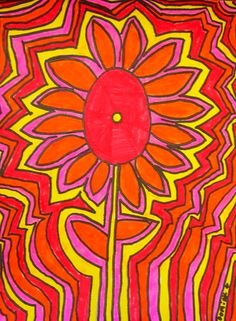 echo line flower Line Flower, Flower Art, Artists Who Paint Flowers, Art Sub Lessons, Warm And Cool Colors, 4th Grade Art, Ecole Art, Art Lessons Elementary, Spring Art