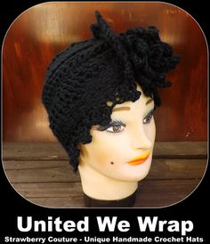 Black Crochet Hat Womens Hat Trendy Womens Crochet Hat Womens Turban Hat Crochet Flower Black Hat ALEJANDRA Turban Hat Crochet Hat by strawberrycouture by #strawberrycouture on #Etsy