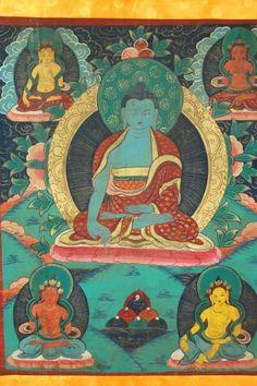 Vintage Medicine Buddha Tibetan Thangka