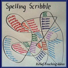 Spelling Scribble - Could also use to practise times table facts.