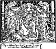 """""""Three Damsels in the Queen's Chamber"""" (Christmas Carol) by Walter Crane"""