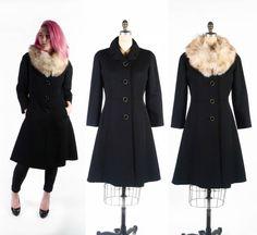 FREE US SHIP: Vintage 50s Coat // Princess Coat // Black Wool Coat // Removeable Fox Fur Collar - sz M - 30 Waist