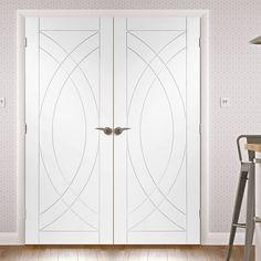 Treviso White Primed Oak Flush Door Pair. #trevisodoorpair #whitecontemporayfrenchdoors #contemporarydoubledoors