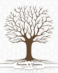 Wedding Tree Guest Book Damask Background By Custombybernolli