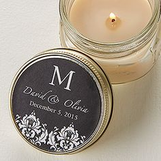 Create lasting Wedding memories with the Damask Monogram Mason Jar Candle Favors. Find the best personalized wedding gifts at PersonalizationMall.com