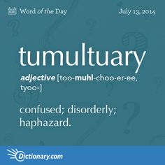 From the Latin tumultus- go make a loud noise. Also the word tumult is derived from the same word. A very common used word in English.