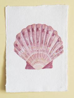 Original watercolour painting by Lisa Le Quelenec of a scallop sea shell in pink - illustration beach decor £40.00 from a collection.