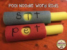 A Neighborhood Kindergarten : Pool Noodle Literacy and Math Rods FREEBIE